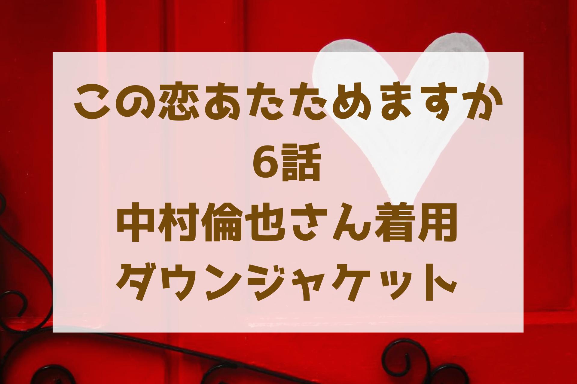 この恋あたためますか浅羽(中村倫也)が着ていたダウンジャケットは?衣装のブランド調査!